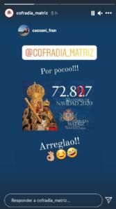 Lotería de navidad/Instagram Cofradía Matriz